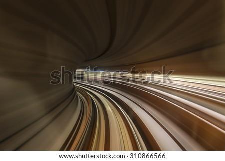 Train In Tunnel - stock photo