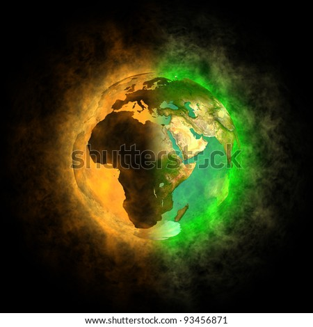 2012 - Transformation of Earth - Europe, Asia, Africa - stock photo