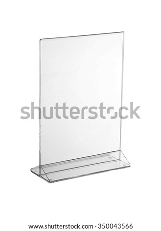 Transparent acrylic table stand display for menu in isolated white background  - stock photo