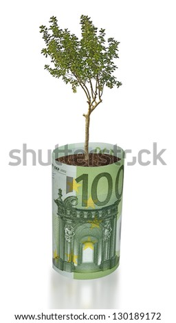 tree growing from euro bill - stock photo
