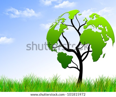 Tree with foliage world map. Best environmental concept - stock photo