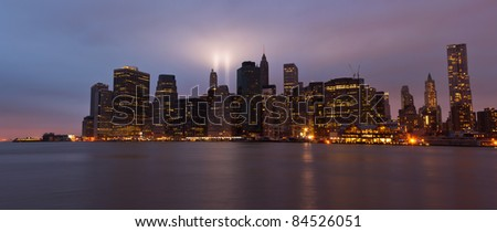 9/11 Tribute in Light Manhattan Panorama. 9/11/11