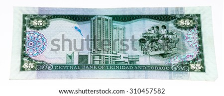 5 Trinidad and Tobago dollar bank note. Trinidad and Tobago is the national currency of this country