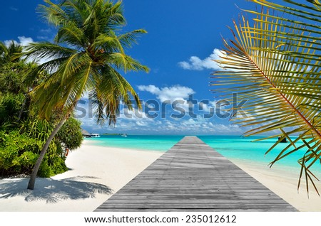 Tropical beach and wooden bridge pier   - stock photo