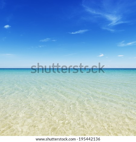 Tropical island beach with a perfect sky. Palawan, Philippines,  - stock photo