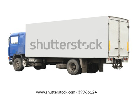 Truck under the white background - stock photo