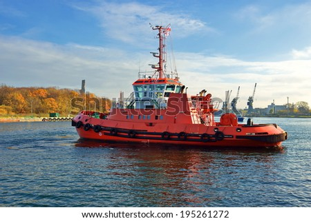 tugboat in the port - stock photo