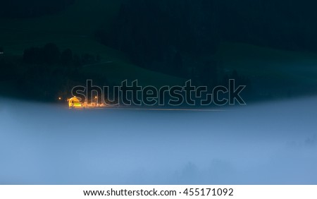 Tunnel in the fog on the mountain in Austria    - stock photo