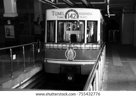 """Tunnel tram"". Famous taksim tunnel and station. Historic transport vehicle. Taksim district. Beyo?lu. Istanbul. November 2017."