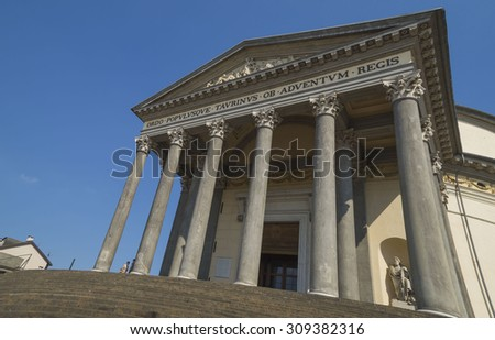 Turin, Italy, Europe - JUNE 28, 2015 . The Gran Madre di Dio Church in Turin.  - stock photo