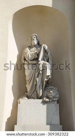 Turin, Italy, Europe - JUNE 28, 2015 . The Gran Madre di Dio Church in Turin. Statue on the facade of the cathedral.  - stock photo
