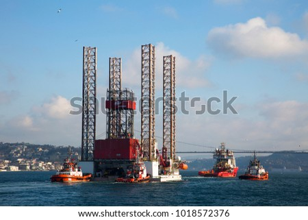 Turkey - February 05 ,2018 :Crossing the Bosporus oil platform, istanbul.