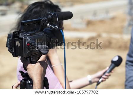 TV interview - stock photo