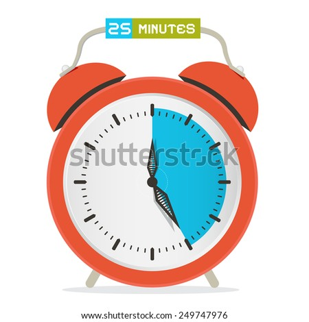 25 - Twenty Five Minutes Stop Watch - Alarm Clock Illustration  - stock photo