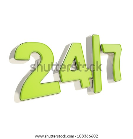 24/7 twenty four hour seven days a week glossy chrome metal and green plastic emblem icon isolated on white background - stock photo
