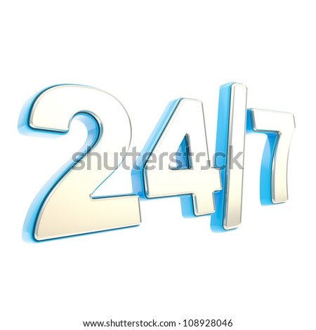 24/7 twenty four hour seven days a week glossy chrome silver metal and blue plastic emblem icon isolated on white background - stock photo