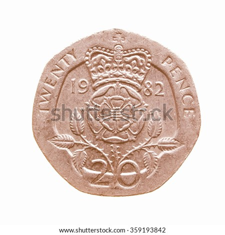 Twenty Pence coin isolated over a white background vintage