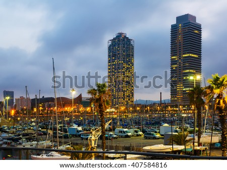 Twilight view of Port Olimpic  in Barcelona, Spain - stock photo