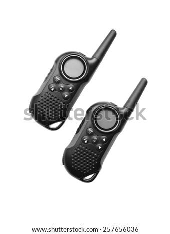 two black radio with antenna on white background - stock photo