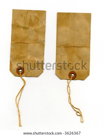 two dirty worn labels - stock photo