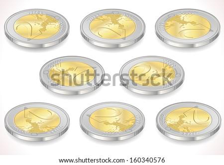 2 Two Euro Coin Icon. Money - stock photo