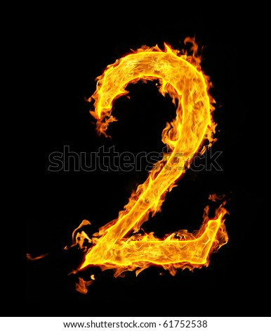 2 (two), fire figure - stock photo