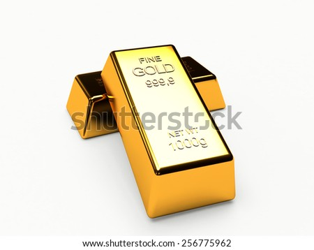 Two golden bars isolated on the white background - stock photo