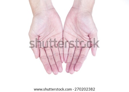 two hand, isolated on white background - stock photo