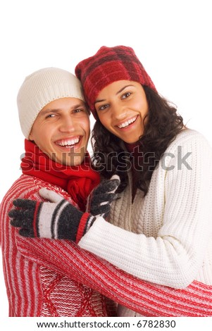 two happy winter friends isolated on white background