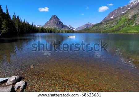 Two medicine lake in Glacier national park - stock photo