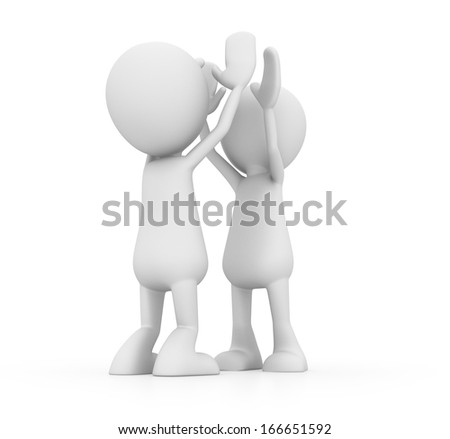 Two Men Doing High Five - stock photo