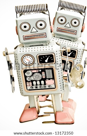 two old robots  ( retro inspired image  0 - stock photo