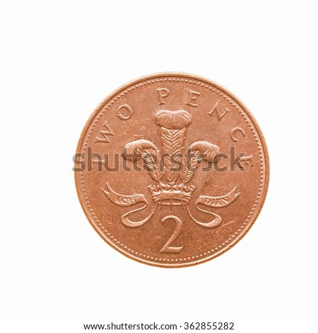 Two Pence coin isolated over a white background vintage