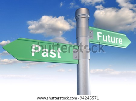 Two-way street, sign pointing to the Past and Future. 3d render - stock photo
