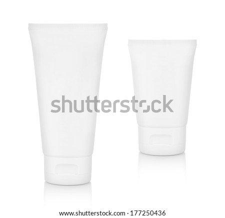 Two white  plastic bottles  of shampoo, conditioner, hair rinse, gel, on a white background with reflection. - stock photo