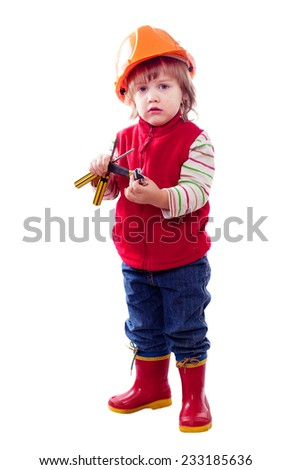 two-year child in hardhat with tools. Isolated over white background