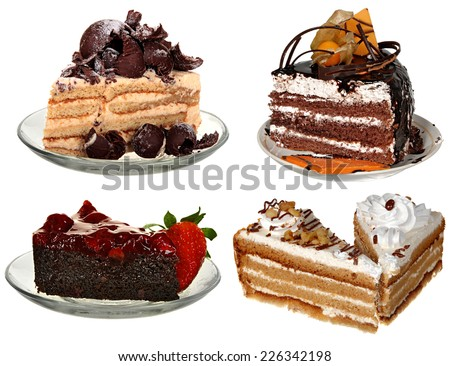 4 Types Cake Chocolate Fruit Ice Stock Photo Royalty Free Royalty