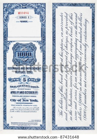 $1000 U.S. railroad bond on white background, issued in 1900. - stock photo