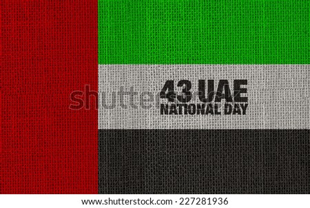 43 UAE National Day badge with text design on isolated white background.  - stock photo