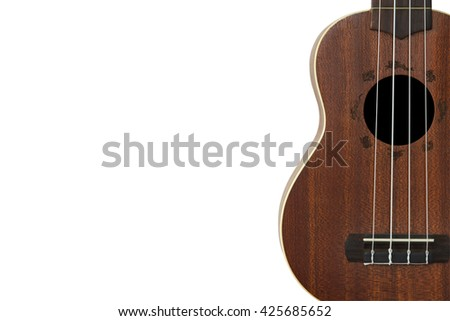 Ukulele isolated on white background. Ukulele Brown. This has clipping path.