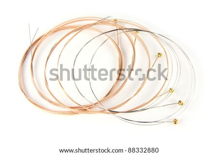 6 ultra thin coating Phosphor Bronze Acoustic Guitar Strings on white background - stock photo