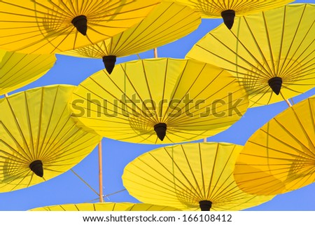 umbrella's handmade umbrella annual ,bosang district ,Chiang Mai Province,Asia Thailand - stock photo