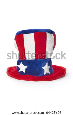 Uncle Sam's hat on white background - stock photo