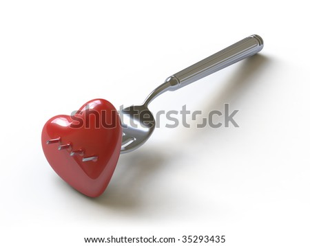 unhappy love. In my portfolio there is collection of pictures of tablewares and heart. You only enter IN a SEARCH the Photographer Name: PAVEL IGNATOV and keyword: TABLEWARE or HEART - stock photo