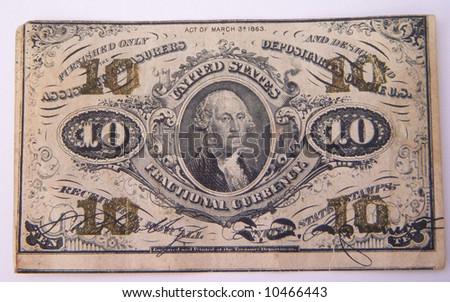 1863 united states 10 cent bill - front - stock photo