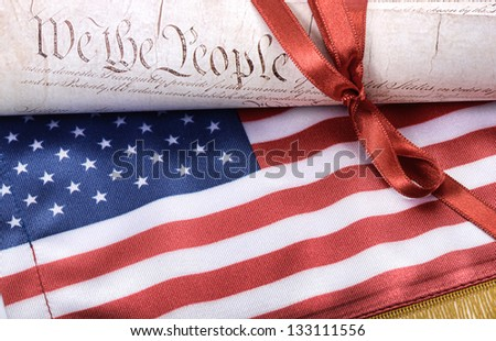 United States of America Constitution and USA flag, USA law concept - stock photo