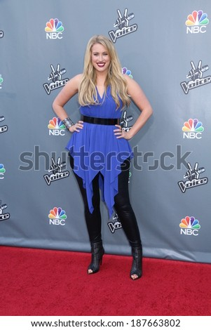 UNIVERSAL CITY, CA - APRIL 15: Dani Moz attends 'The Voice' Season 6 Top 12 Red Carpet Event on April 15, 2014 in Universal City, California.