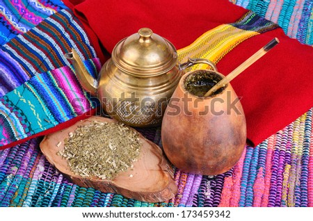 �¢??up from calabash and teapot with dry mate leaves.Traditional drink of Peru, Brazil and Argentina.
