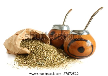 ?ups from calabash and straws with dry mate leaves - traditional drink of Argentina. - stock photo