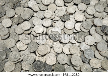 25 US cent coins - stock photo